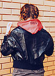 Женская мега стильная куртка кожанка с капюшоном (бомбер) (2 цвета), фото 2