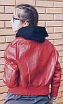 Женская мега стильная куртка кожанка с капюшоном (бомбер) (2 цвета), фото 4