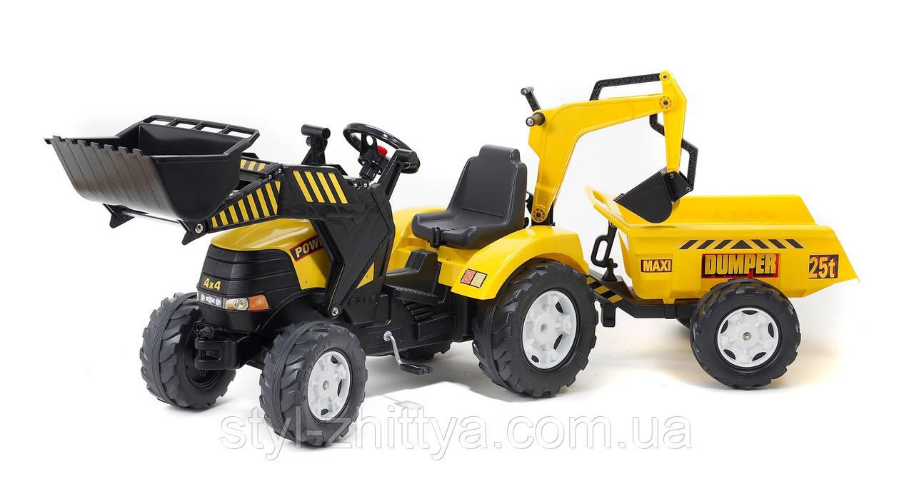 Великий трактор, екскаватор на педалі для дітей