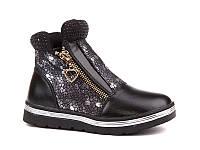 Демисезонная обувь детская. Ботиночки на девочек осенние от фирмы EEB.B W518 black (8 пар, 27-32)