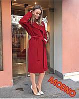 Классическое кашемировое пальто на запах с поясом, материал кашемир. Цвет бордовый