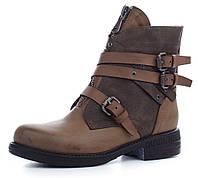 Ботинки женские завышенные с молниями West на каблуке коричневые