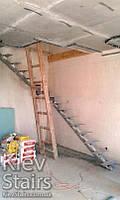 Металлокаркас для открытой лестницы на центральном косоуре и поворотом на 90 градусов