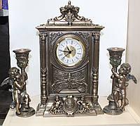 Каминный набор Veronese Ангелочки (часы и 2 подсвечника) с бронзовым покрытием, фото 1