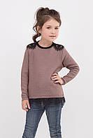 Красивый вязанный джемпер для девочки с кружевом, размеры 104-122