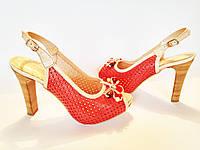 Кожаные польские женские модные босоножки на каблуке Kordel 4536