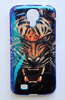 Чехол на Самсунг Galaxy S4 I9500 приятный Силикон Глянцевый Тигр