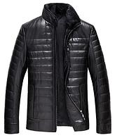 Зимняя кожаная мужская куртка. Модель 6163