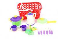 Посуда в корзинке, кастрюля, сковорода, кофейник и др. (6шт/уп) КВ