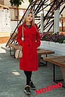Стильный женский тренч из хлопковой парки со съемным капюшоном, цвет красный