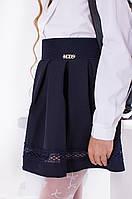 Школьная женская синяя юбка пояс-резинка на молнии