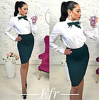 Женский костюм рубашка+юбка с галстуком 105 ЕФ