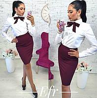 Женский костюм рубашка+юбка с галстуком 105.3 ЕФ