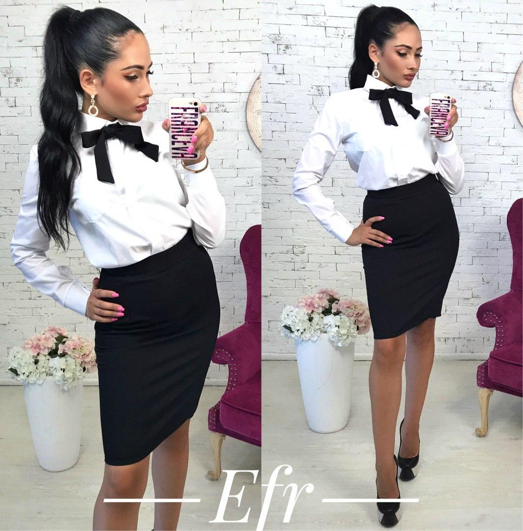 a645b6deed4 Женский костюм рубашка+юбка с галстуком 105.4 ЕФ  продажа