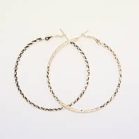 Серьги кольцами Huge рефлёное золото, диаметр  6 см