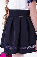 Женская синяя юбка пояс-резинка с кружевом
