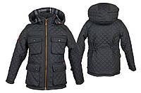 Детская стеганная куртка для мальчика на флисе, 3-10 лет