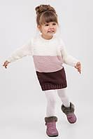 Красивый трехцветный свитер-туника для девочки, размеры 104-122