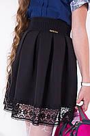 Модная школьная черная женская юбка с кружевом тренд 2017
