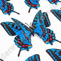 3D-бабочки декоративные, синие с рисунком, 11.5×12 см, 10 шт.