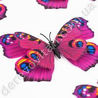 3D-бабочки декоративные, малиновые с рисунком, 10×12 см, 10 шт.