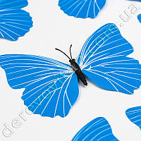 Бабочка декоративная, голубая, 9×12 см, 10 шт.