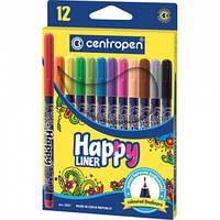 """Набор капиллярных ручек - лайнеров ( линеров ) Centropen """"Happy"""" 12цв."""