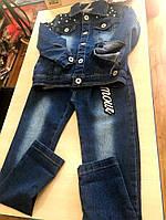 Модный джинсовый костюм для девочки: штаны и пиджак