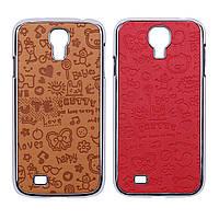 """Пластиковая накладка с тиснением """"детские рисунки"""" для Samsung i9500 Galaxy S4"""