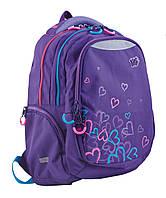 Рюкзак 1 вересня Yes Т-24 Hearts 553115 фиолетовый подростковый три отдела 30х43х15см