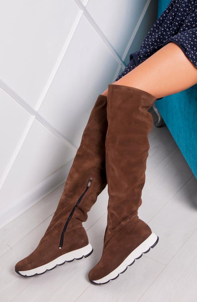b24741777 Сапоги женские ботфорты замшевые без каблука — купить недорого в ...