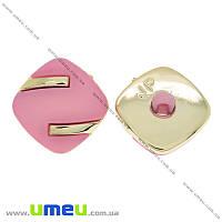 Пуговица пластиковая на ножке Матовая розовая, 18х18 мм, Светлое золото, 1 шт (PUG-021460)