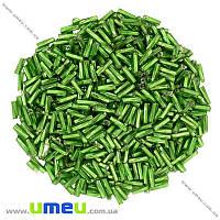 Бисер стеклярус скрученный, 6 мм, Зеленый блестящий, 25 г. (BIS-001507)