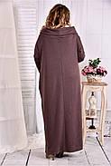 Женское трикотажное платье с воротником 0570 цвет коричневый размер 42-74 / больших размеров , фото 4