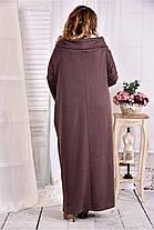 Женское трикотажное платье с воротником 0570 цвет коричневый размер 42-74 / больших размеров , фото 3