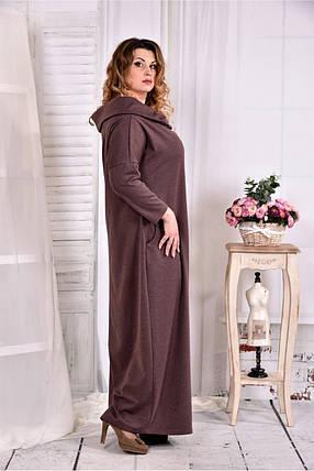 Женское трикотажное платье с воротником 0570 цвет коричневый размер 42-74 / больших размеров , фото 2