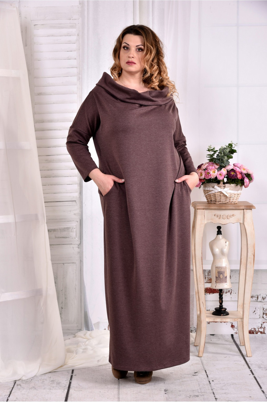 1007665de64 Женское трикотажное платье с воротником 0570 цвет коричневый размер 42-74    больших размеров