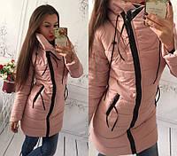 Курточка удлиненная ЗИМА 200 синтепон - кожаный уголок много расцветок, СУПЕР КАЧЕСТВО ам1 № 6556