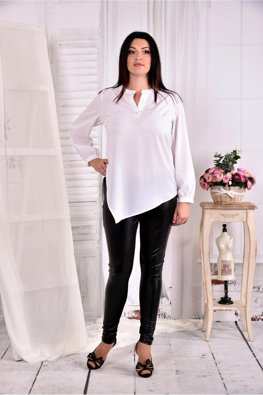Женская блуза свободного кроя 0580 цвет белый размер 42-74