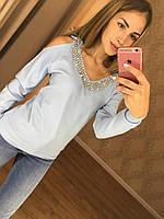 Женский стильный пуловер (свитер) с открытыми плечиками и украшением (3 цвета)