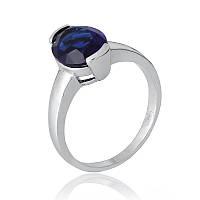 """Серебряное кольцо с имитацией сапфира """"378"""""""