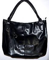Женская черная сумка с двумя ручками на один отдел 35*35