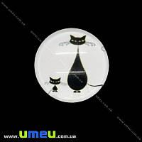 Кабошон стекл. с принтом Кот, 18 мм, Круглый, 1 шт (KAB-019948)