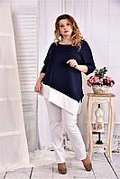 Женская туника с белой полоской цвет синий 0563 размер 42-74