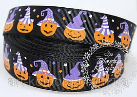 """Репсовая лента """"Хэллоуин, тыква"""", черная, 2,5 см"""