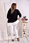 Женская туника с белой полоской цвет черный 0563 размер 42-74, фото 4