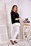 Женская туника с белой полоской цвет черный 0563 размер 42-74, фото 2