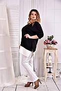 Женская туника с белой полоской цвет черный 0563 размер 42-74, фото 3