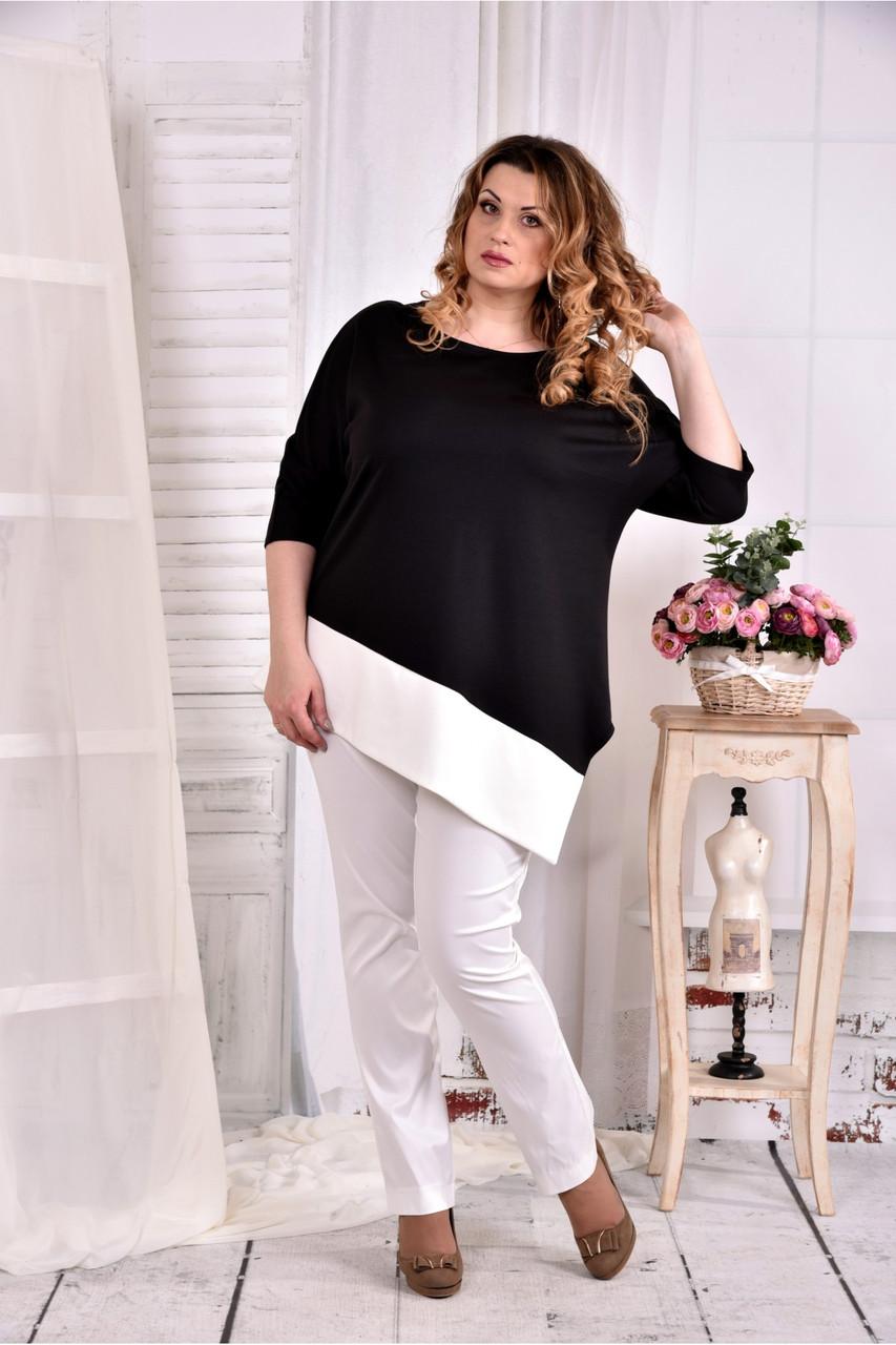 Женская туника с белой полоской цвет черный 0563 размер 42-74