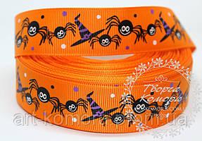"""Репсовая лента """"Хэллоуин, тыква"""", оранжевая, 2,5 см"""